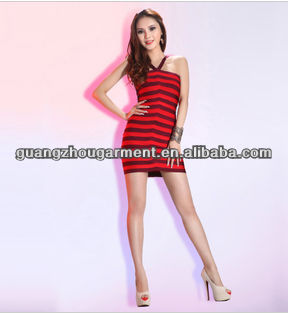 Bandage dress with stripe rayon and spandex legerity