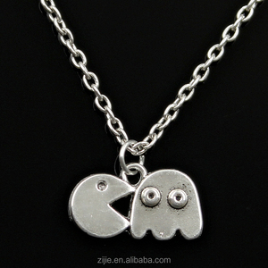 Alloy charms necklace silver pac man retro 80's arcade game necklace pendant necklace fashion jewelry