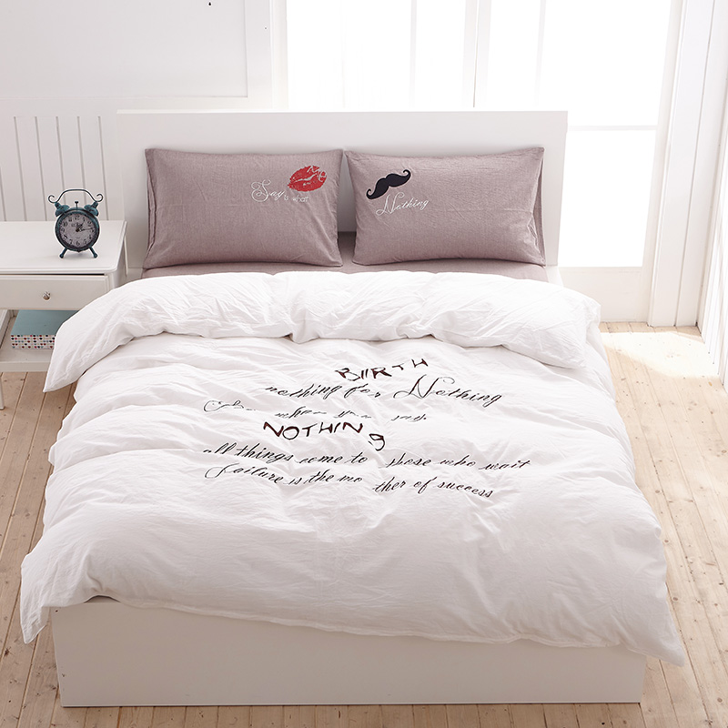 Hot Sell Muji Style 100% Cotton Embroidered Washing Cotton Bedding ...