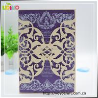 royal purple vintage wedding card MOQ 100 laser wedding invitation printing available elegant wedding invitation card