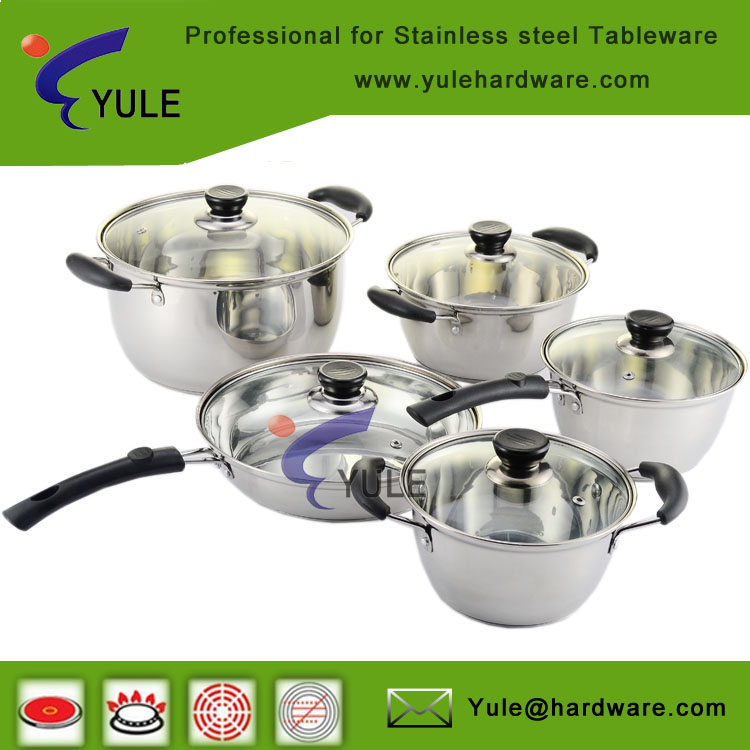Easy carry 10 pcs stainless steel cooking pot cookware set