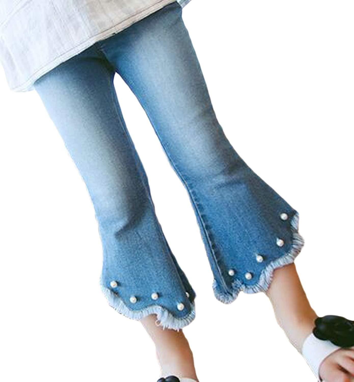AliveGOT Toddler Kid Girls Denim Jeans Bell Bottom Flare Pants Leggings Trousers