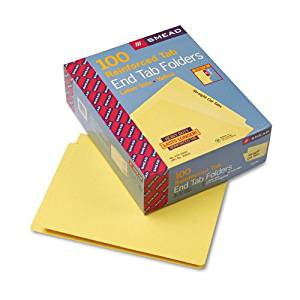 Smead : Colored File Folders, Straight Cut, Reinforced End Tab, Letter, Yellow, 100/Box -:- Sold as 2 Packs of - 1 - / - Total of 2 Each