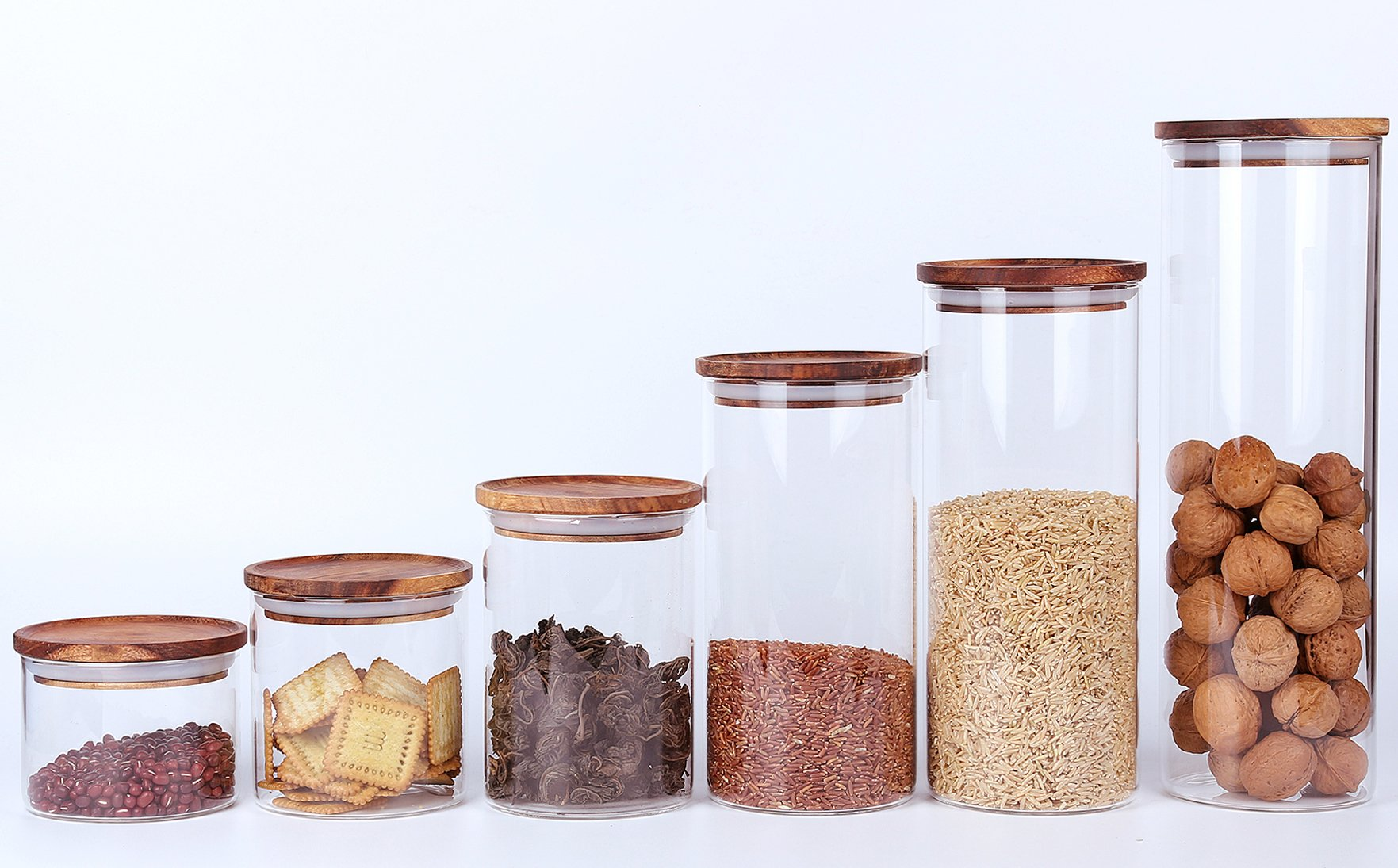 Clear Glass Canisters Jars Containers Set for Food Storage with Airtight Wood Lids for Kitchen,BPA Free,18oz,1-Piece set,Tea Coffee Canister Coffee Bean Jar Cookies,Flour,Sugar Container