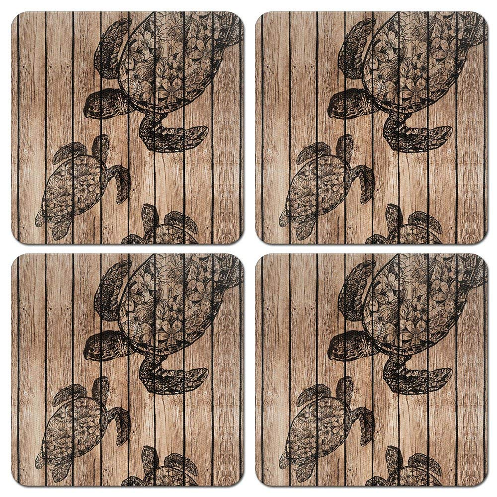 CARIBOU Coasters, Turtle Wooden Design Absorbent SQUARE Fabric Felt Neoprene Coasters for Drinks, 4pcs Set