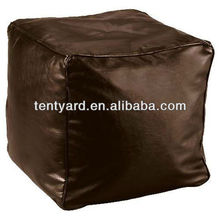 brown leather ottoman pouf