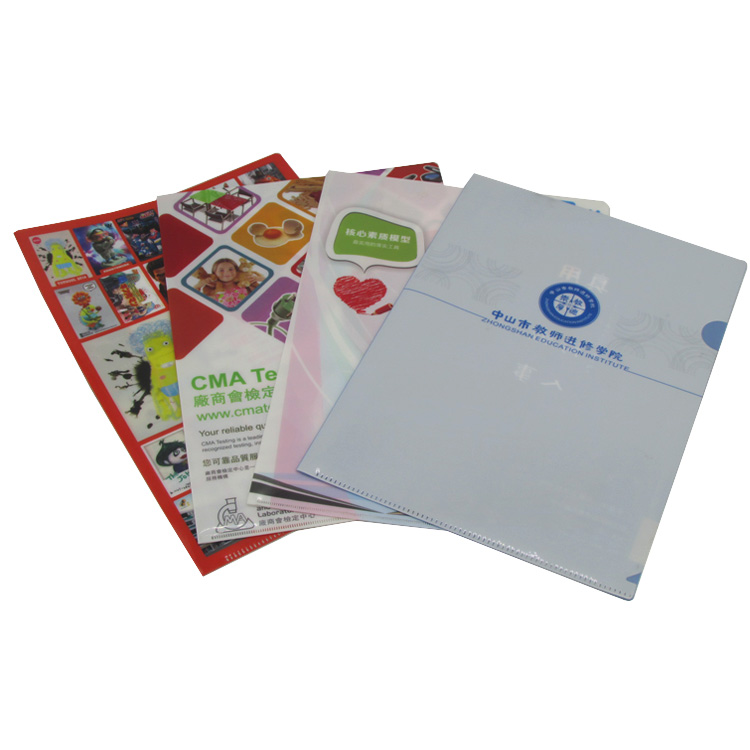 office supplies PP l shape file folder custom plastic l folder printing