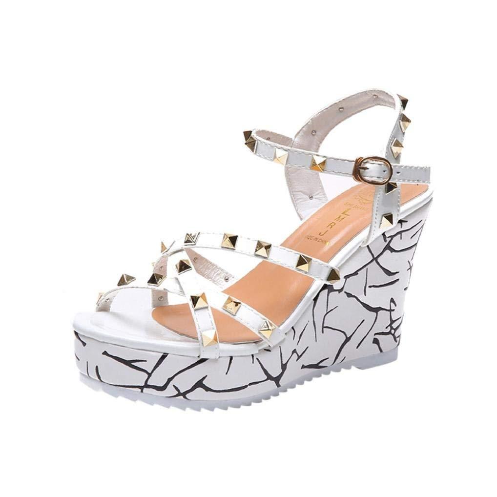 G&Kshop Wedge Sandals,Women Summer Platform Shoes Casual Rivets Decor Beach Sandal