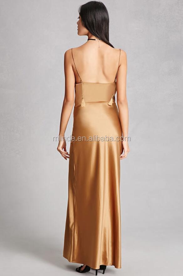 2afaaf6c6f9 Hot Sale Lady Fashion Clothing Custom Cowl Neckline Spaghetti Strap Night  Satin Maxi Dress Style Shiny Silk Slip Dress