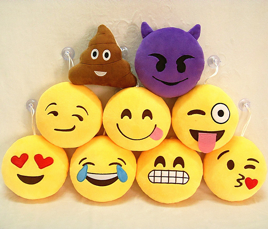 Popular Stuffed Plush Soft Toy Emoji Key Chains Yellow