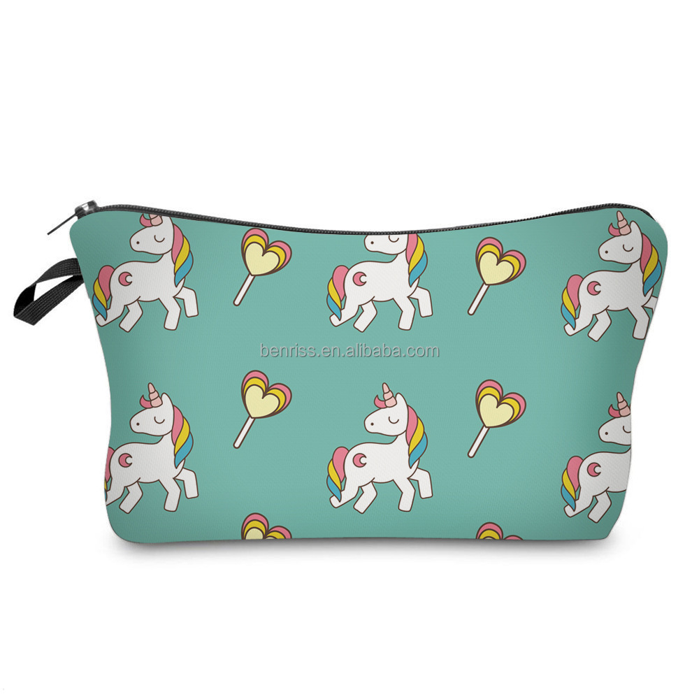 Fashion polyester 3D Horse animal Printing multi function Lady travel Makeup cosmetic bag