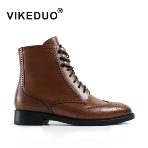 VIKEDUO Hand Made Vintage Style Lacing Zipper Brogue Dress Shoes Women Genuine Leather Ladies Ankle Boots