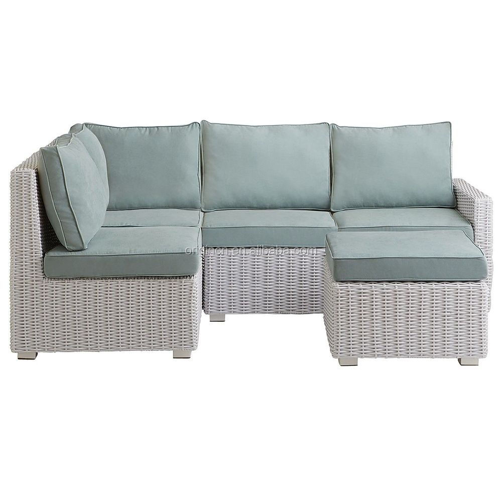 small space cheap white rattan outdoor corner sofa with ottoman wicker patio furniture