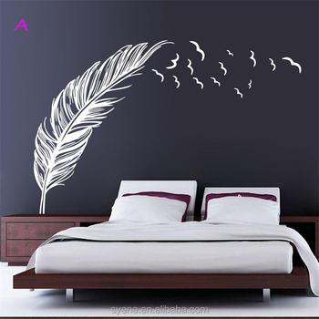 Colors Birds Flying Feather Wall Stickers Bedroom Decor Living Room ...