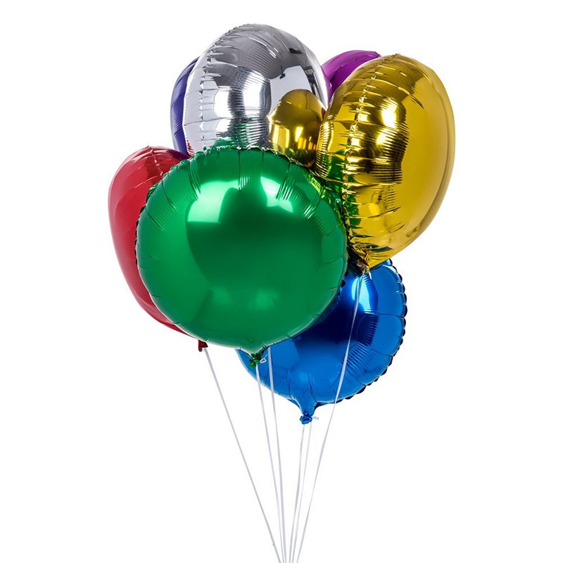 Inflatable 18 Inch Round Shape Gold Silver Red Green Balloons Foil Mylar Helium Metallic Balloon For Birthday Party Decorations