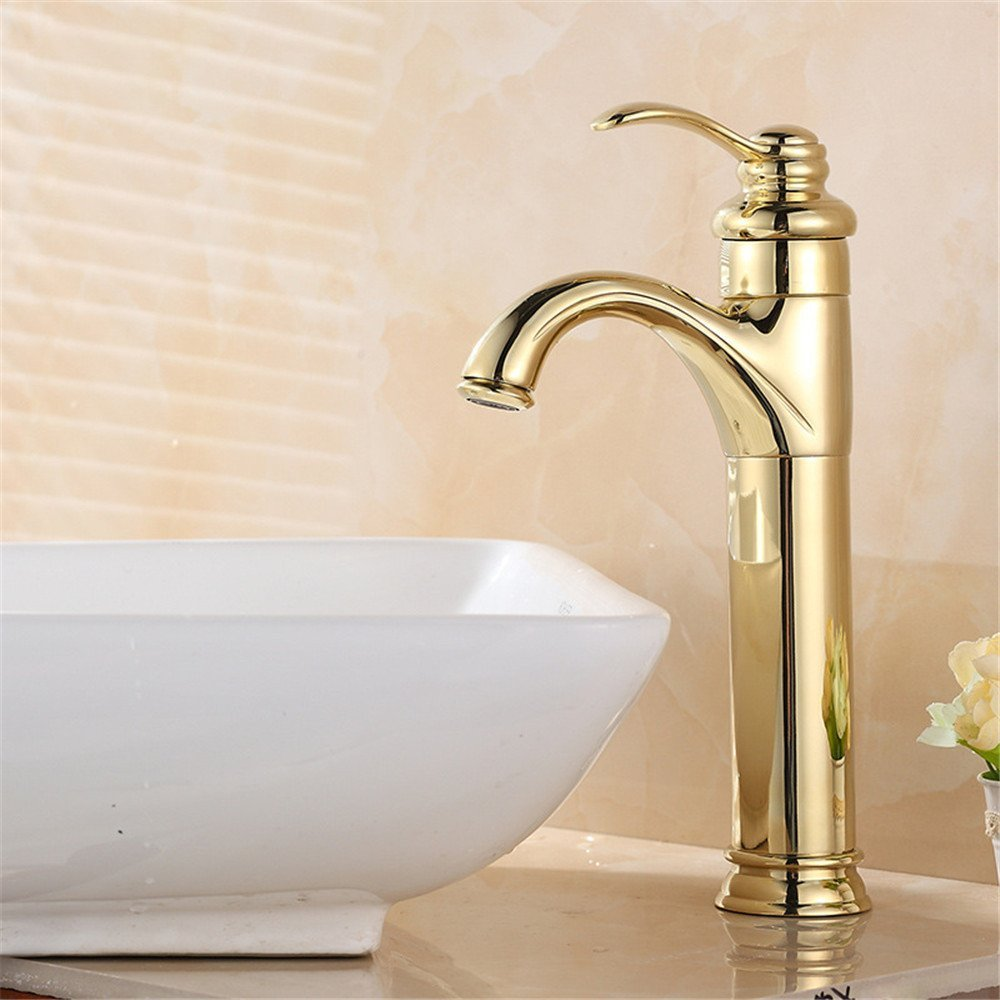 FHLYCF Basin faucet, European style retro copper bath gold bath, head basin faucet, hot and cold water kitchen faucet, gold-plated Bathroom Sink Faucet