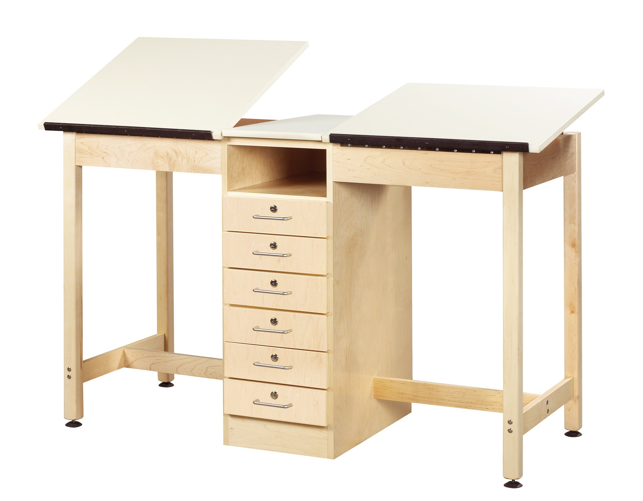 """Diversified Woodcrafts DTA-21A UV Finish Solid Maple Wood 2 Station Art/Drafting Table, 60"""" Width x 36"""" Height x 24"""" Depth"""