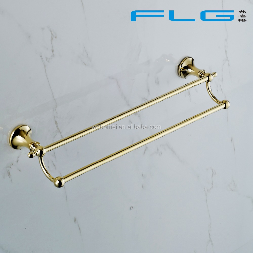 Household Hotel Use Wall Mounted Gold Towel Bar BM22748 Double Towel Bar
