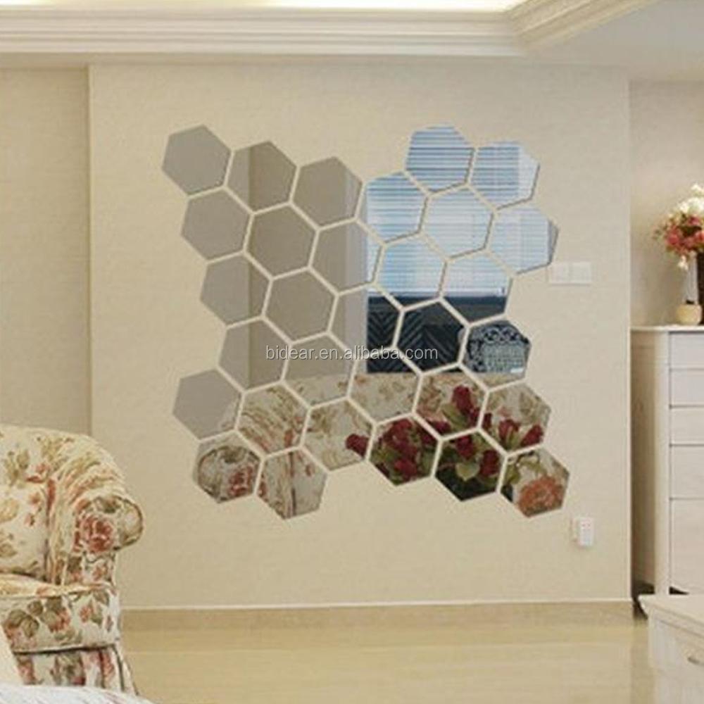 Fabbrica diretta esagonale bastone della parete specchio for Specchio esagonale