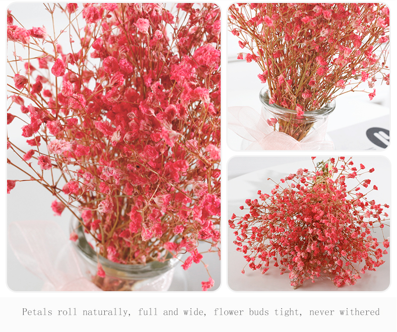 Hot sale cheap indoor dried small weeding decoration artificial Gypsophila flower pots and planters with glass vase