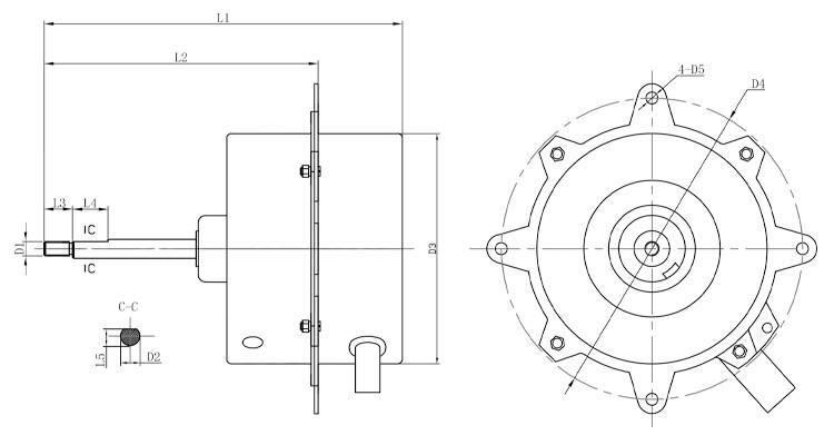 5060hz 1 2hp 4 Pole Ac Motor Air Conditioner Outdoor Fan Motor