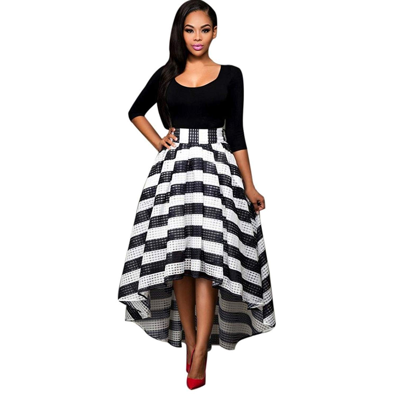 4611d10c3a6 Get Quotations · Hot Sale❤❤️UPLOTER Womens Stripe African Floral Print A  Line Long Skirt 2 Piece