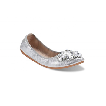 4e72635d4be925 Womens Fold up Pumps Casual Shoes Foldable Ballet Flats with Rhinestone