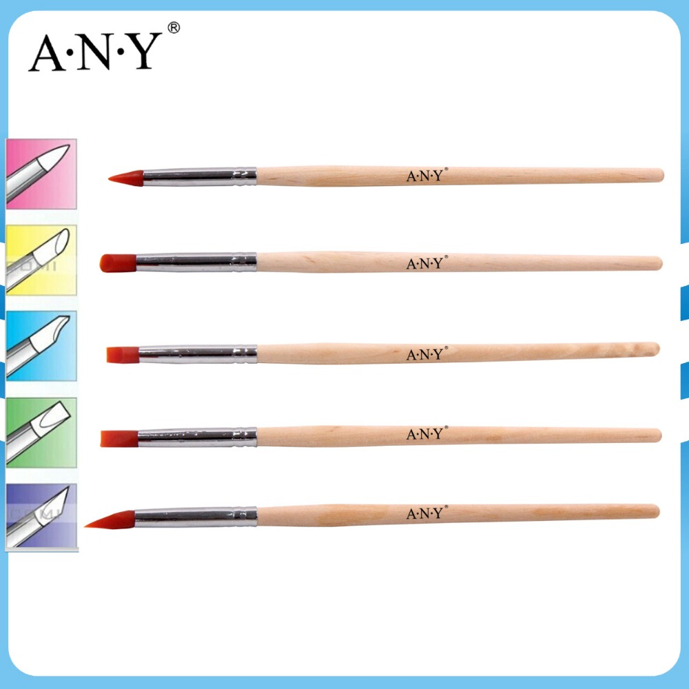 ANY Newest Design Original Wood Handle 5PCS Nail Art 3D Clay Silicone Brush Set