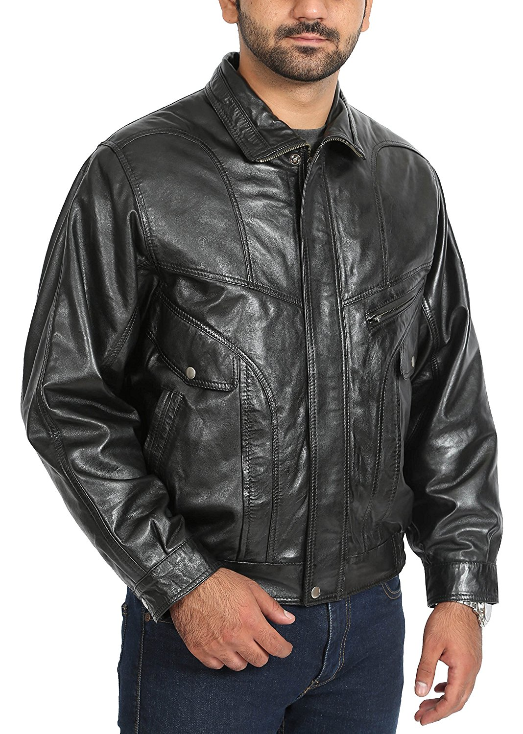 Mens Genuine Soft Leather Bomber Classic Blouson Jacket Phil Black