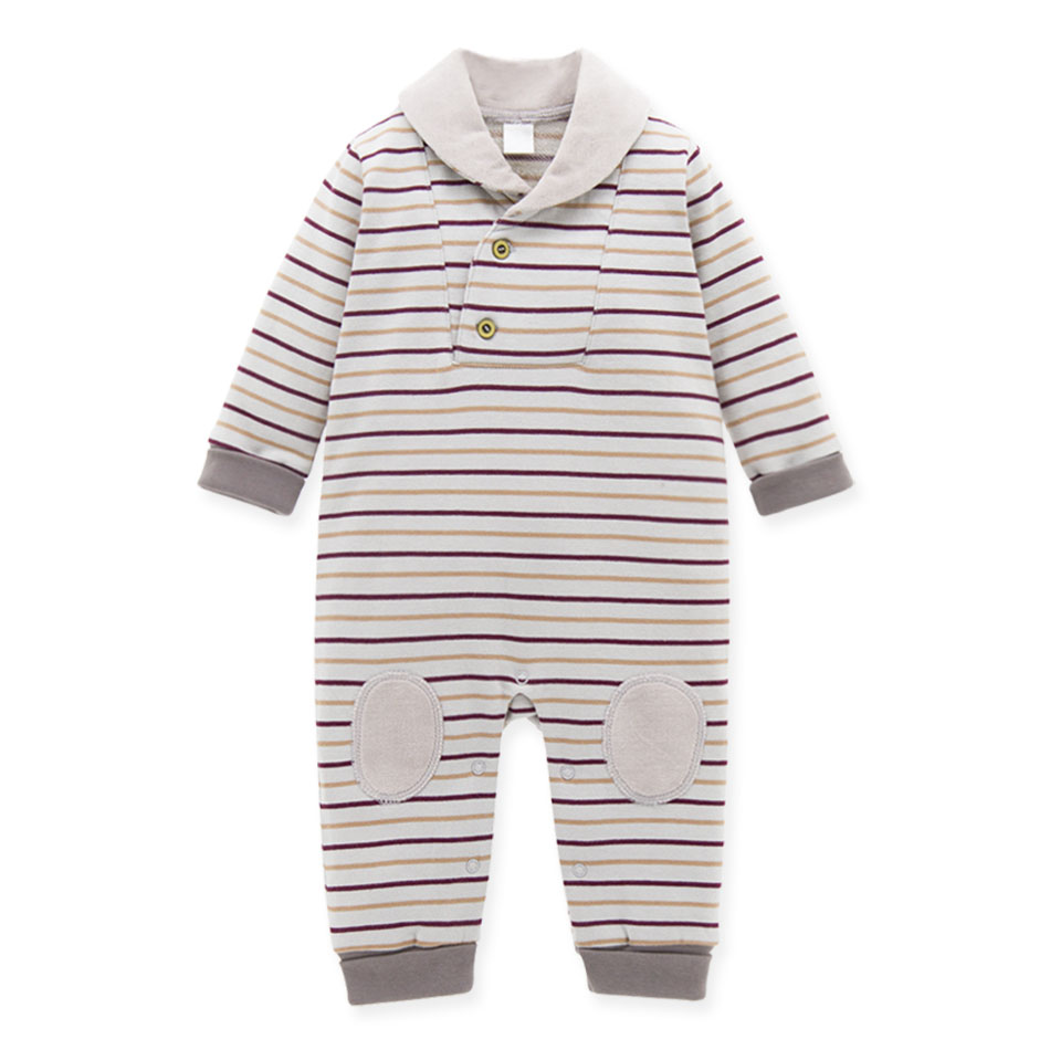 2017 Fashion and High Quality Baby Boy Clothes Yarn Dyed Stripes French Terry Long Sleeve Baby Winter Rompers