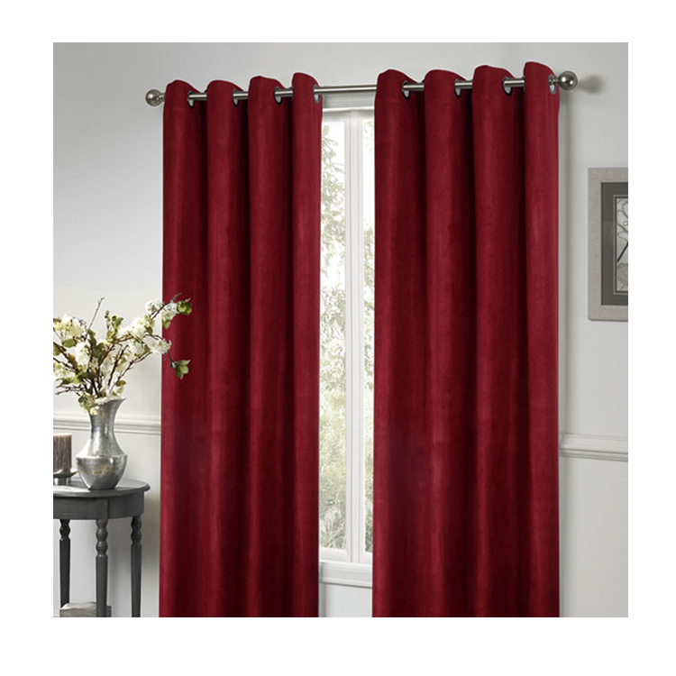 BSCI OKTEX 100% polyester custom logo red suede shade <strong>curtain</strong> cheap design ready made <strong>curtain</strong>