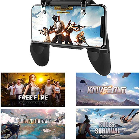 Amazon hot selling mobile game controller W10 gamepad for smartphone PUBG trigger with holder