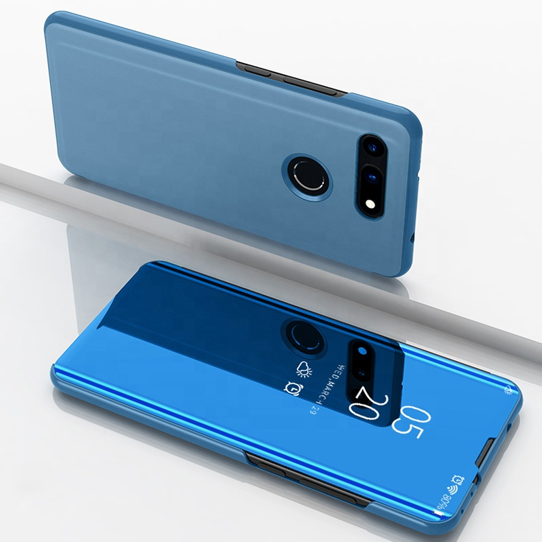 Top selling pu leather blue mirror smart view flip anti shock mobile <strong>phone</strong> back cover case for Huawei Honor View 20