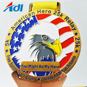 wholesale the cheap neck ribbon 2018 usa eagle marathon metal sports award medal for finisher