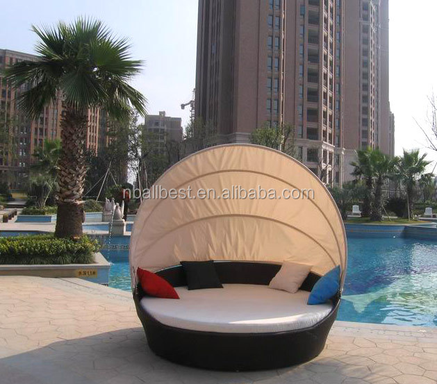 Rattan Outdoor Furniture Pool Sunbed Round Lounger With Canopy