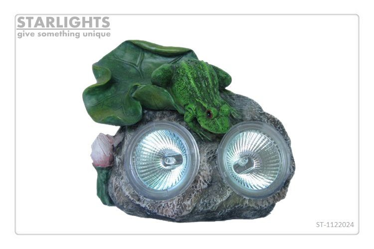 Hot new product custom-made polyresin solar frogs for garden decor