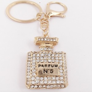 Rhinestone Crystal Keyring Charm Pendant Purse Bag Key Ring Chain Keychain Perfume Bottle Very Hot Sale