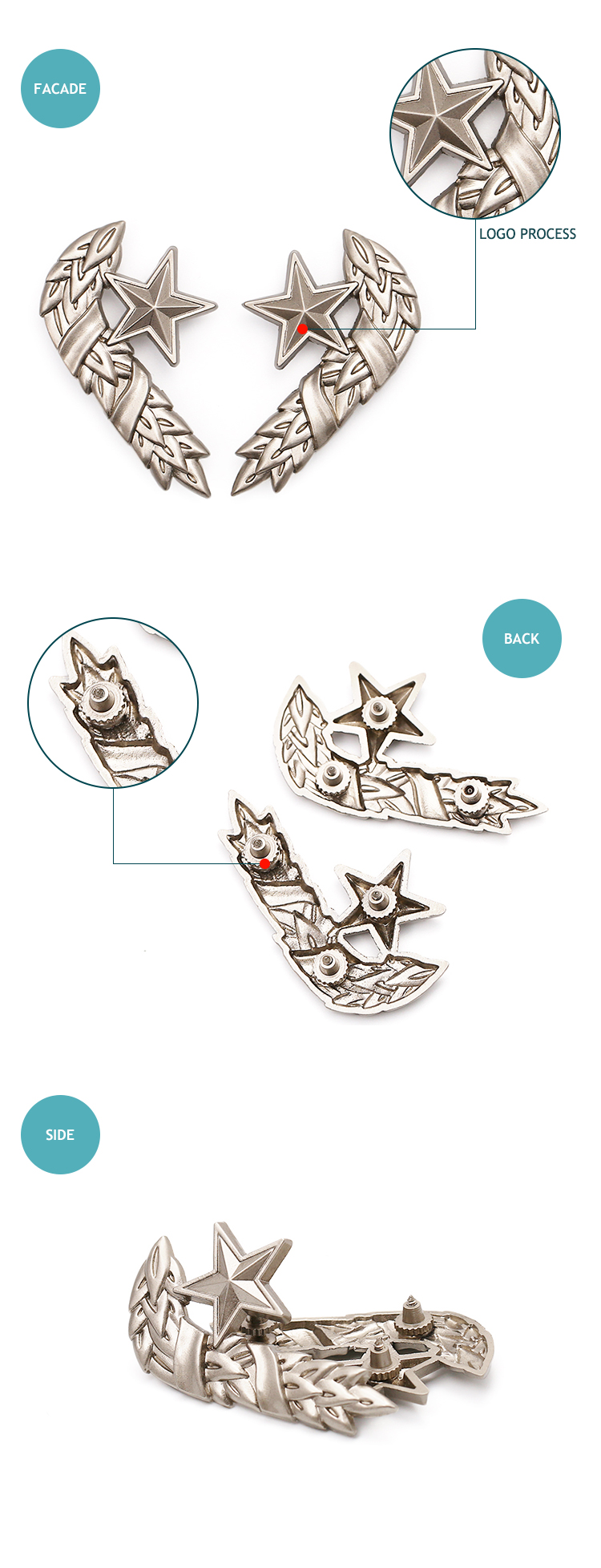 New design custom logo 3D metal pin badge wholesale factory