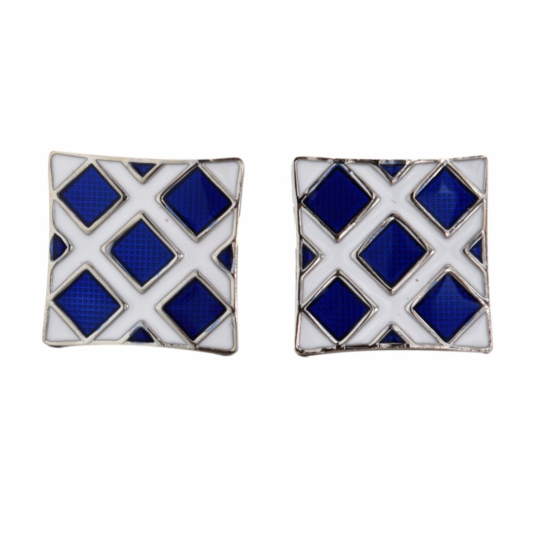SODIAL(R) Pair of Chic Blue Rhombus Pattern Design Square Metal Cufflinks For Men