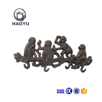 Cast Iron Metal Decorative Animal Four Monkey Shaped Wall Hooks For Hanging