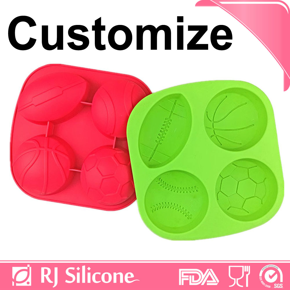 RJSILICONE easy release ice cube trays flexible silicone ice cube tray Black Silicone Ice Ball Mold Maker