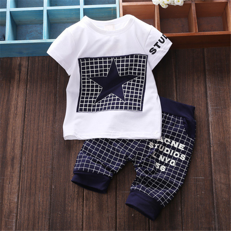 Baby Boy Summer Clothes Star Printed Pullover T-shirt + Pants Sets Newborn Clothing Sport Suits 2016 Brand Kids Boys Clothes Set