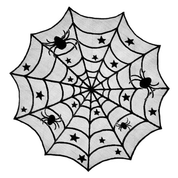 40 inch Round Polyester Yarn Lace Halloween Tablecloth Black Spider Web Halloween Decoration For Festival Party Supplies