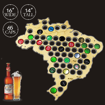 Wall Mounted Beer Cap Map Of Brazil Wooden Decorative Display Board For Brasil Cap Collectors Beer Drinker Wood Crafts
