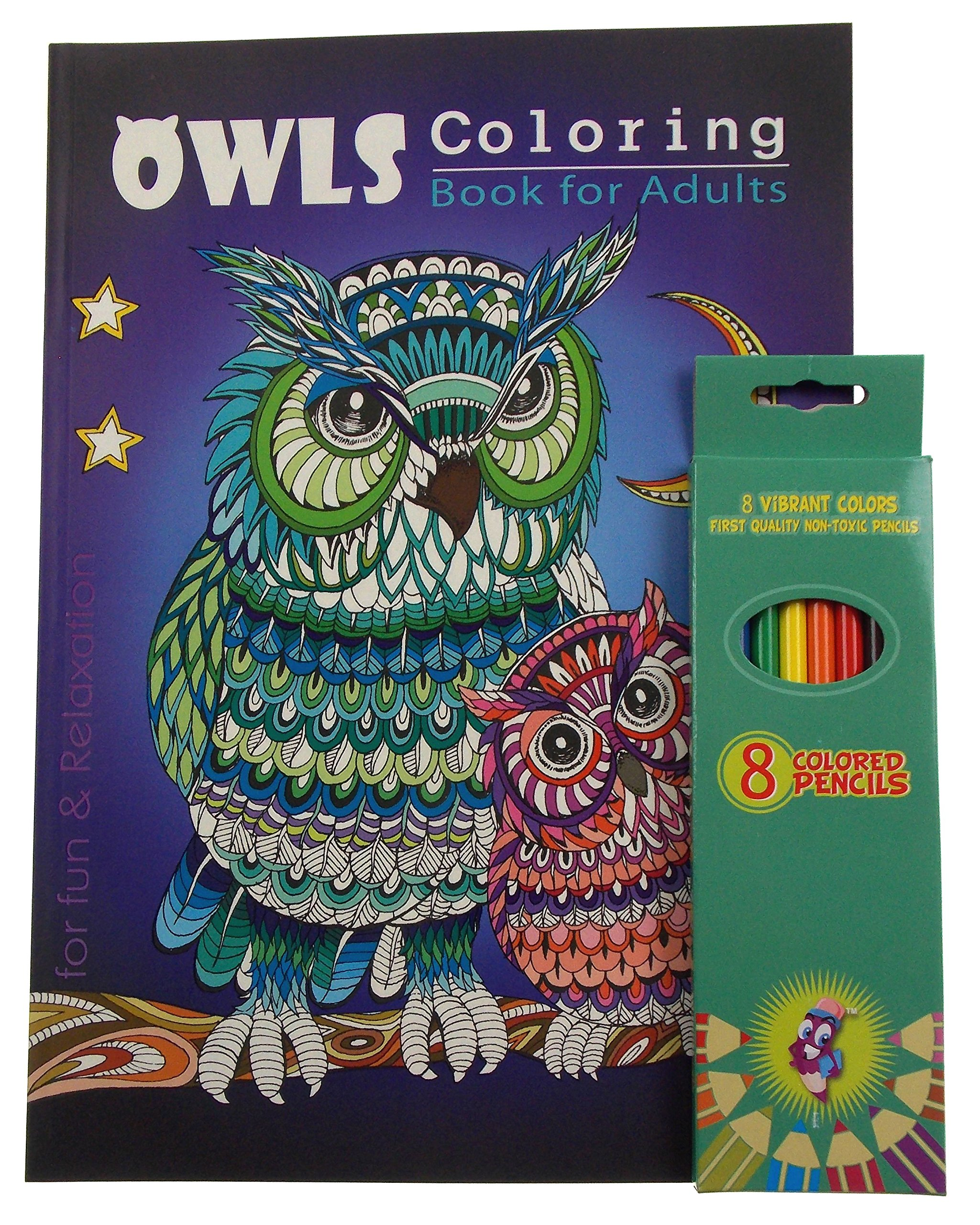 Hickoryville Owls Theme Adult and Teen Coloring Book Bundled With Vibrant Colored Pencils