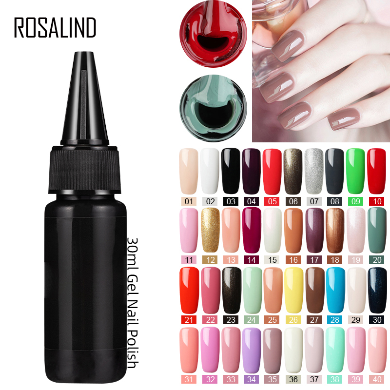 Rosalind custom logo 30ml high capacity plastic bottle pure color nails <strong>gel</strong> soak off uv <strong>gel</strong> polish for wholesale