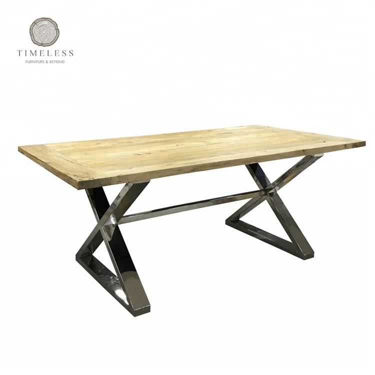 Peachy Reclaimed Wood And Stainless Steel Cross Leg Dining Table Buy Stainless Steel Cross Leg Dining Table Wood And Stainless Steel Dining Table Stainless Squirreltailoven Fun Painted Chair Ideas Images Squirreltailovenorg