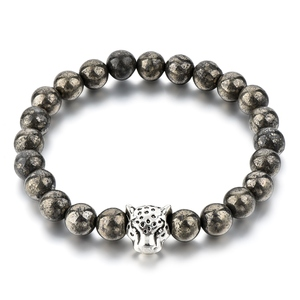 Rock Style Round Iron Pyrite Strand Bracelet with Leopard Head for Men Jewelry