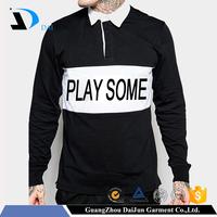 Daijun oem fashion long sleeve black and white screen printing custom men 100% 200g cotton rugby polo shirt made in china