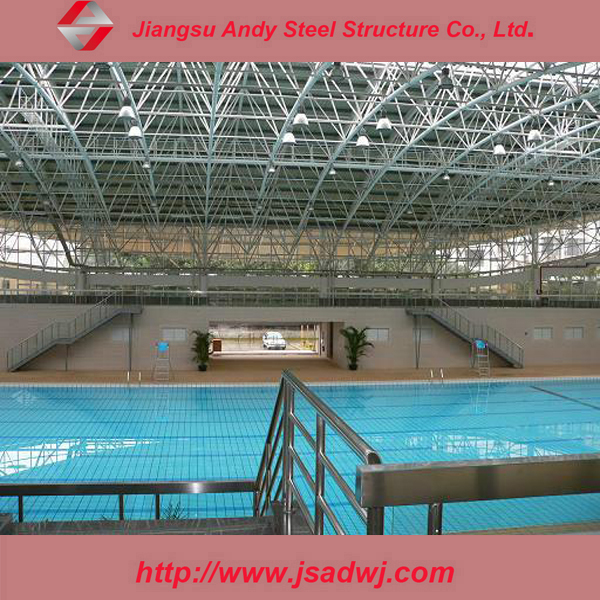 Low price steel truss roof for swimming pool construction for Cost of building a swimming pool
